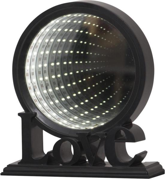"""LED-Leuchtkreis """"LOVE""""- endlos Spiegeleffekt - schwarz - 20,5x18,5x7cm - Batteriebetrieb - Schalter"""