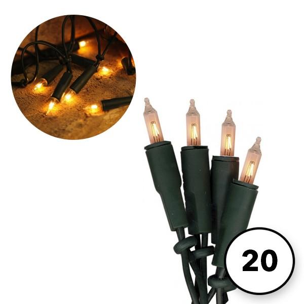 Lichterkette 20 Pisello Glühlampen 4m - IP20 - grünes Kabel - 230V/50Hz