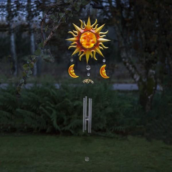 LED Solar Windspiel SONNE - rot/gelb - weiße LED - H: 95cm, D: 29cm - Dämmerungssensor
