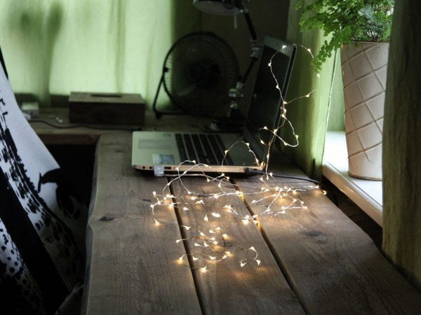 LED-Lichterkette | Flexi-Draht | 100 LEDs | Controller | mit USB Anschluss | 5m | silbernes Kabel