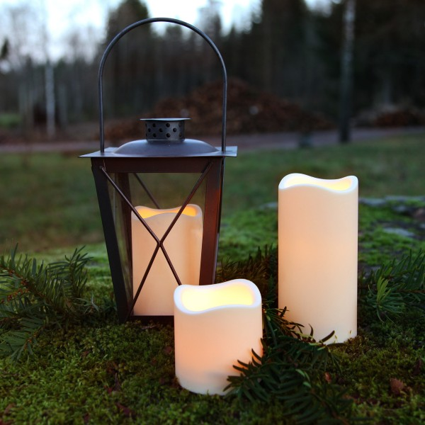 "LED Stumpenkerze ""Paul"" - flackernde LED - H: 15cm - Batteriebetrieb - Timer - outdoor - creme"