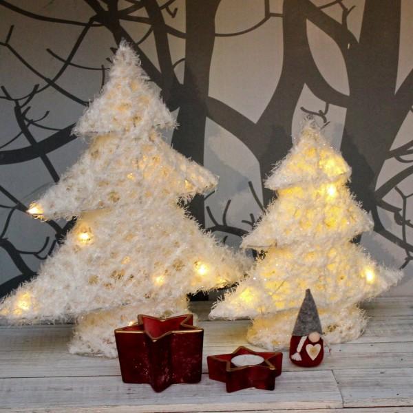 Weißer LED Tannenbaum mit Schnee - 15 warmweiße LED - H: 40cm - Batteriebetrieb