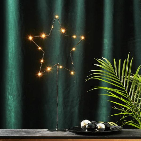 """LED-Metallstern """"Sparkling"""" - 15 warmweiße LEDs - H: 60cm - Batteriebetrieb - Timer - schwarz"""