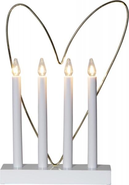 """Fensterleuchter """"Glossy Herz"""" - 4flammig - warmweiße Glühlampen - H: 35cm - Schalter - Weiß/Gold"""