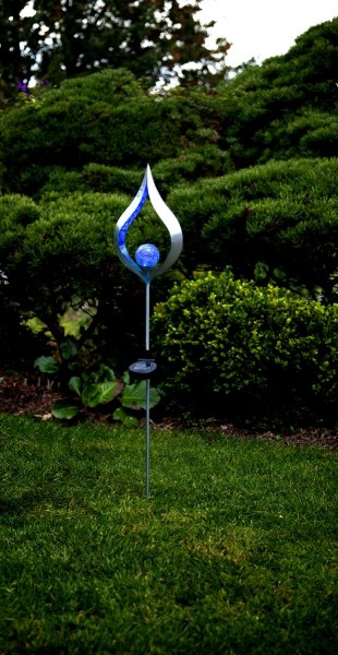 """LED-Solarstab """"blue Flame"""" - Edelstahl - Glaskugel mit blauer LED - H: 86cm - Dämmerungssensor"""