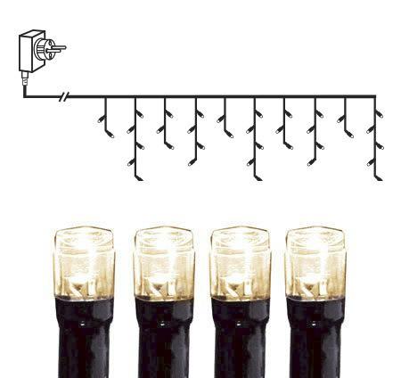 LED-Lichtervorhang | Serie MICROLED 3mm | 4x0,4m | schwarzes Kabel | 200 warmweiße LEDs | Trafo