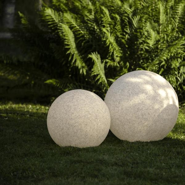 Garten-Kugel/Leuchte - D: 50cm - Erdspieß - E27 Fassung max 25W - 5m Zuleitung - IP44 wasserfest