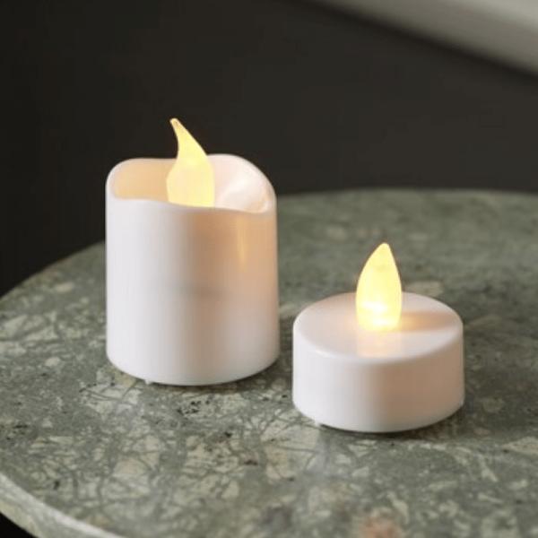 LED Teelicht & Kerzen Set - flackernde LED - 6 Mini LED Kerzen + 10 LED Teelichter