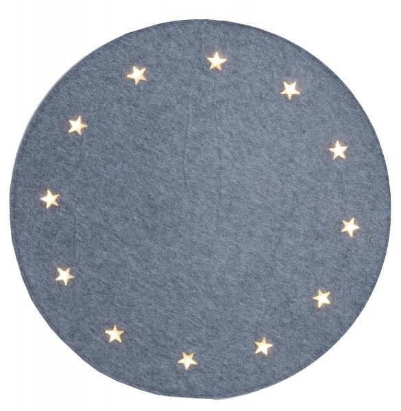 "LED-Baumteppich ""Granne"" - Material: Filz - grau - D: 100cm - 12 warmweiße LEDs - indoor"