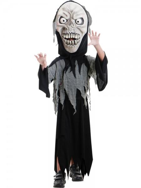 Halloween Kostüm Schreckgespenst - XXL Maske + Umhang - für Kinder von 6-8 Jahre
