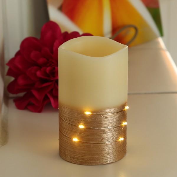 LED Kerze - Echtwachs - mit Drahtlichterkette umwickelt - flackernd - H: 12,5cm - creme/kupfer