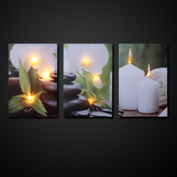 LED Wandbilder WELLNESS - Leinwaldbild - 9 warmweiße LED - 90 x 30 x 2,5cm - 3 Stück