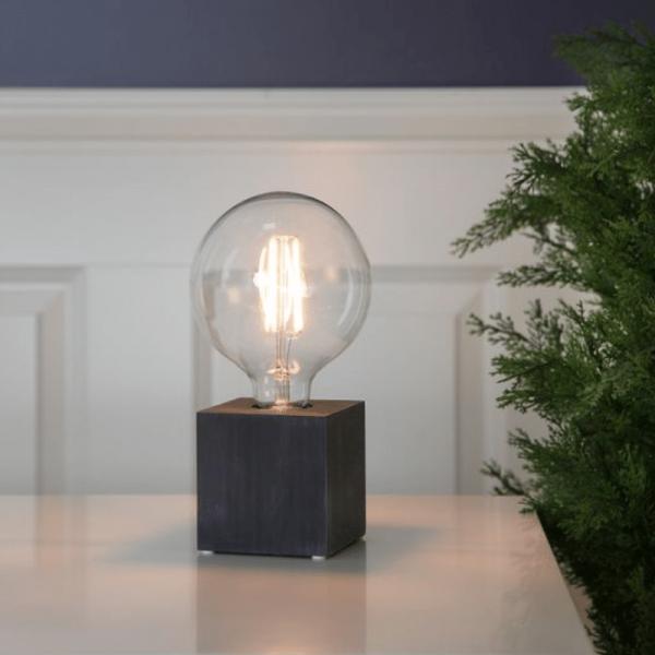 Lampenhalterung | KUB | E27 | →9cm x ↑9cm | 180cm Kabel | Fassung Holz Schwarz