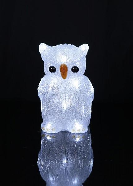 "LED-Acryleule ""Crystal Owl"" - 16 kaltweiße LED - H: 20cm - batteriebetrieben"