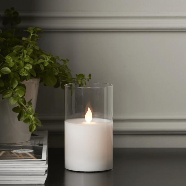 """LED Kerze/Windlicht """"Twinkle"""" - Echtwachs - mechanische Flamme - Timer - H: 12,5cm - weiß"""