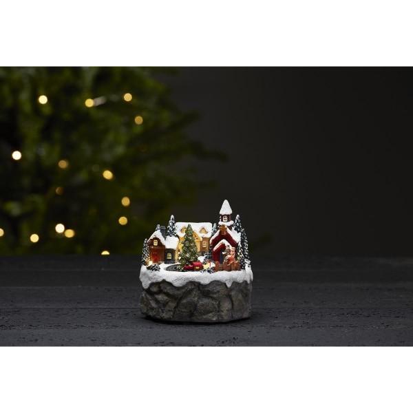 """LED-Weihnachtszene """"Trainville"""" - Weihnachtszug mit Bewegung - 4 bunte LEDs - ↑12cm"""