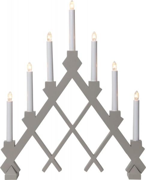 "Fensterleuchter ""Rut"" - 7flammig - 7 warmweiße Glühlampen - L: 43cm, H: 53cm - Holz - Grau"