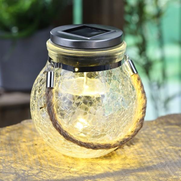 LED Solar Glas SUNNY mit Farbwechsel und Weiß - H: 14cm, D: 12cm - schönes Dekoglas mit Seil