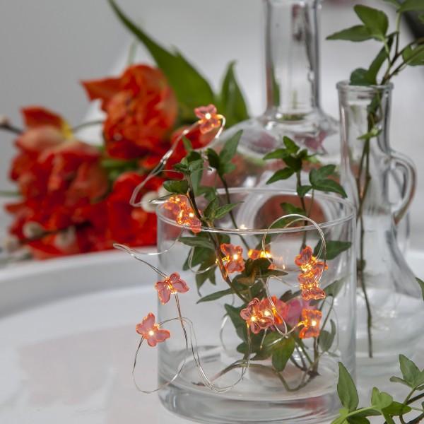LED Drahtlichterkette Schmetterling - 12 warmweiße LED - silberner Draht - 1,1m - Batterie - rosa
