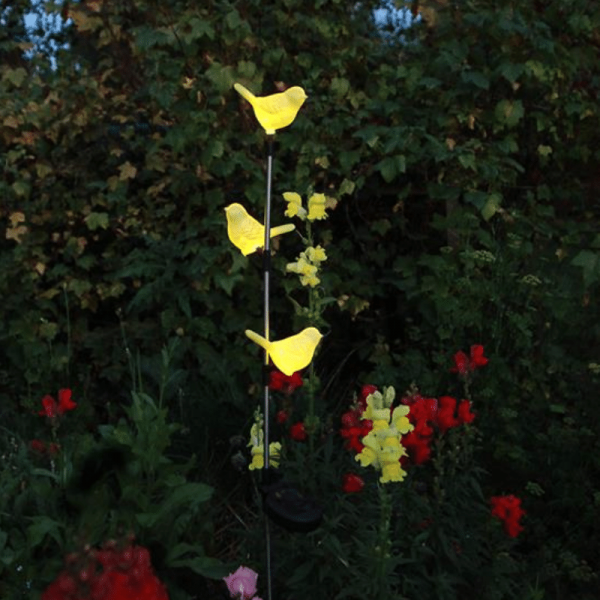 "LED Solarstab ""Vögelchen""- gelb - gelbe LED in Vögelchen - H: 95cm - D: 10cm - Dämmerungssensor"