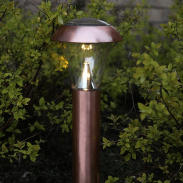 "LED Solar Wegleuchte ""Napoli"" - Edelstahl - warmweiße LED - H: 36cm - Dämmerungsensor, kupferfarben"