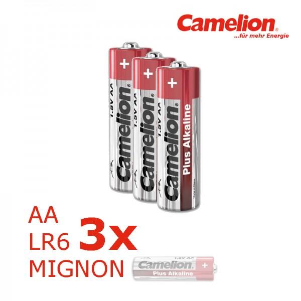 Batterie Mignon AA LR6 1,5V PLUS Alkaline - Leistung auf Dauer - 3 Stück - CAMELION