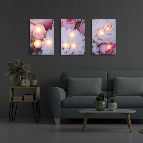 LED Wandbilder PFINGSTROSEN - Leinwaldbild - 9 warmweiße LED - 90 x 30 x 2,5cm - 3 Stück