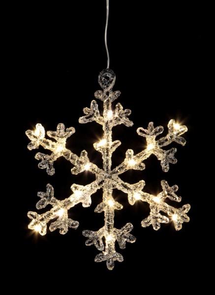 """LED-Acryl-Schneeflocke """"Icy Star"""" - 16 warmweiße LED - H: 18cm - schwarz/klar - Timer"""