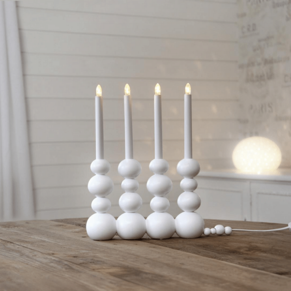 "LED Fensterleuchter ""Bubbles"" - 4 warmweiße LED - L: 29cm, H: 37cm - Holz - Schalter - weiß"