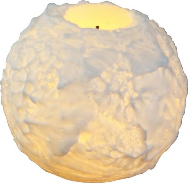 LED-Kerze   Echtwachs   Snowta   flackernde LED   Timer   Weiß   →7.5cm   ↑6.5cm