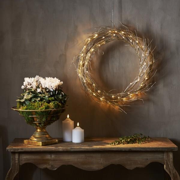 LED Lichtkranz Fizzy - Türkranz - 50 warmweiße LED - D: 45cm - Indoor - gold