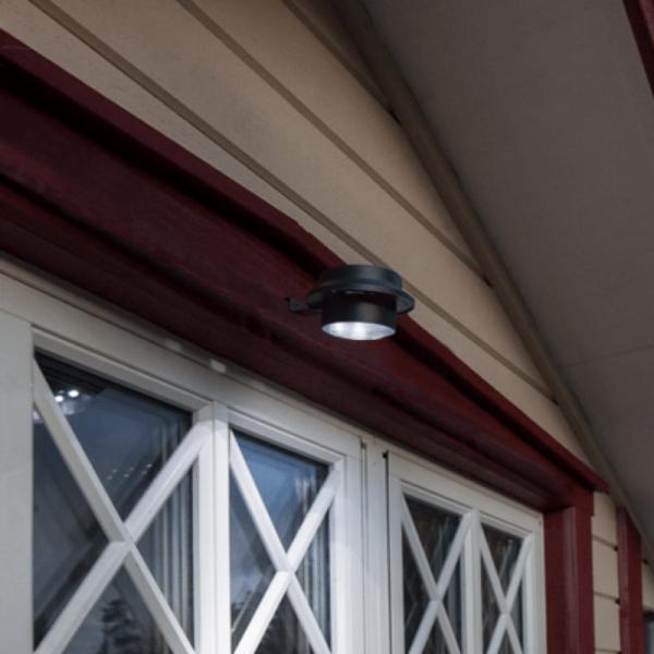 Solarlampe mit Klammer - warmweisses Licht - Dämmerungssensor - D: 12cm - IP44