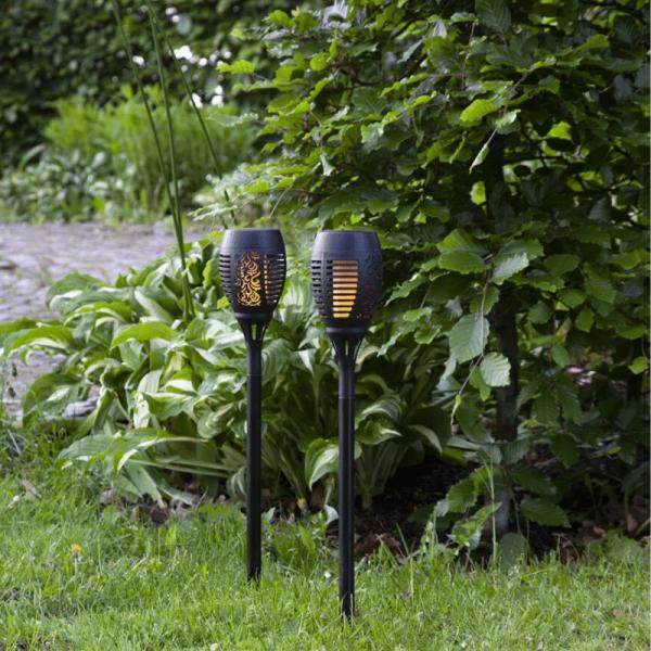 """LED Solar Fackel """"Flame"""" - LED Leuchtmittel bewegtem Feuereffekt - H: 50cm - Dämmerungssensor"""