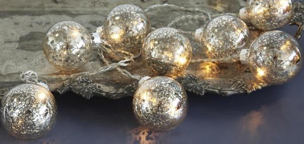 """Glaskugel-Lichterkette """"Argent Balls"""" mit 8 LED-Lichtern - 2,1m - inkl. Trafo, transparentes Kabel"""