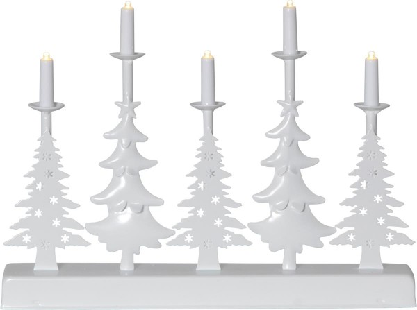 """LED-Leuchter """"Walder"""" - 5flammig - warmweiße LEDs - L: 32cm, H: 23,5cm - Timer - Batterie - weiß"""