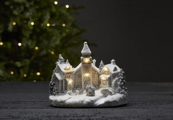 """LED-Kirche """"Churchville"""" - weiss - 6 warmweiße LEDs - ↑18cm"""