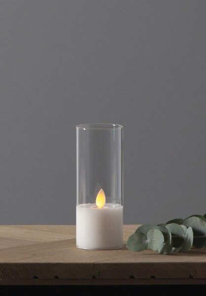 LED Windlicht - TWINKLE - Kerze im klaren Glas - H: 12,5cm - D: 5cm - Timer - bewegte, gelbe Flamme