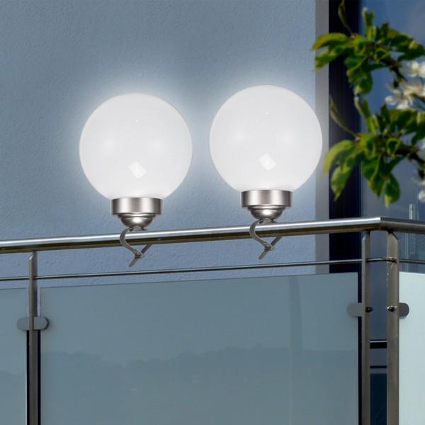 LED Solar Kugellampe - 2in1 - 4 kaltweiße LED - D: 15cm - inkl. Clip und Erdspieß