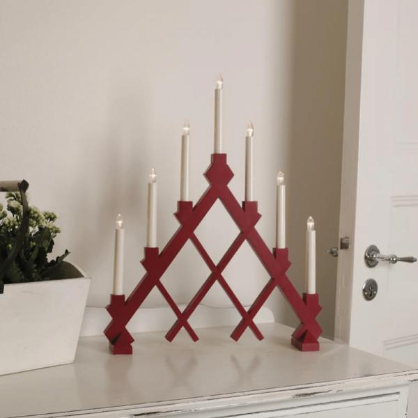 "Fensterleuchter ""Rut"" - 7flammig - 7 warmweiße Glühlampen - L: 43cm, H: 53cm - Holz - rot"