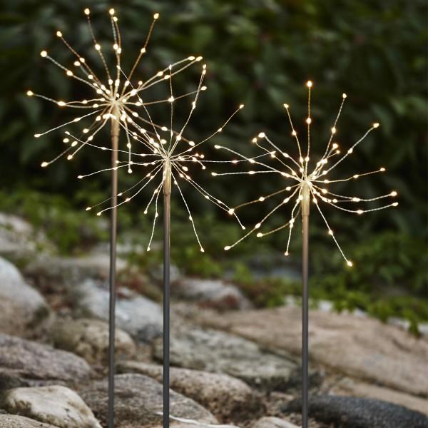LED Dekostäbe FEUERWERK - H: 65cm - je 60 daylight LED - inkl. Trafo - outdoor - silber - 3er Set