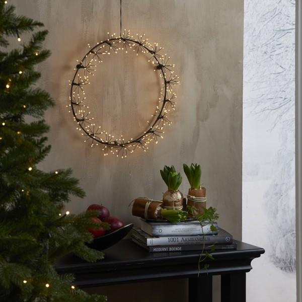 LED Lichtkranz Flower - Türkranz - 270 warmweiße Dew Drop LED - D: 30cm - Indoor - schwarz