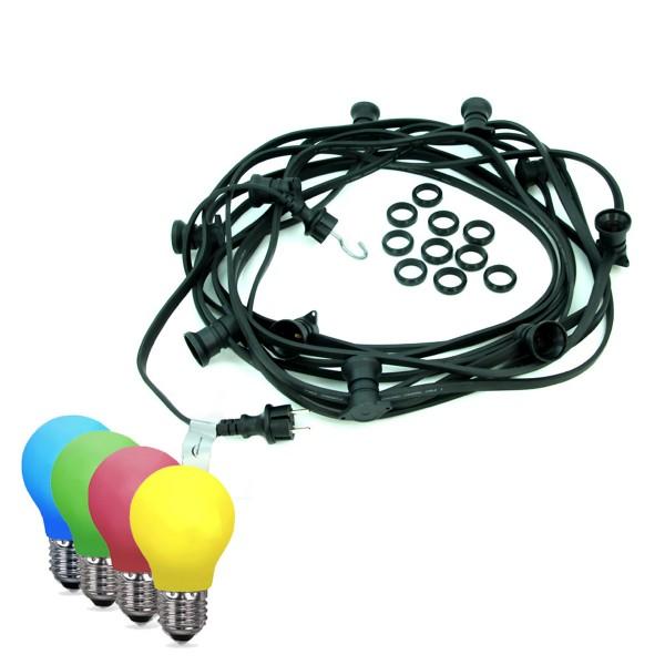 ILLU-Lichterkette BLACKY - 10m - 10 x E27 - IP44 - bunte LED Tropfenlampen - SATISFIRE