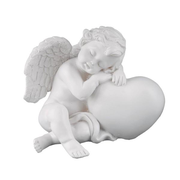 Engel sitzend mit Herz links - weiss - 11 x 9 x 9cm