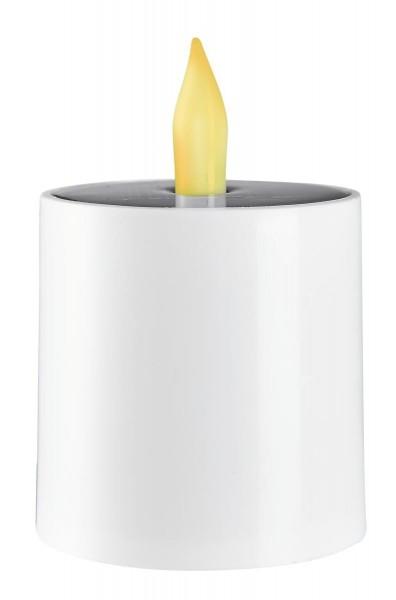 """Solar-Kerze """"CARRARA"""" - weiß - H: 11cm, D: 7,3cm - flackernde gelbe LED - Dämmerungsschalter 1"""