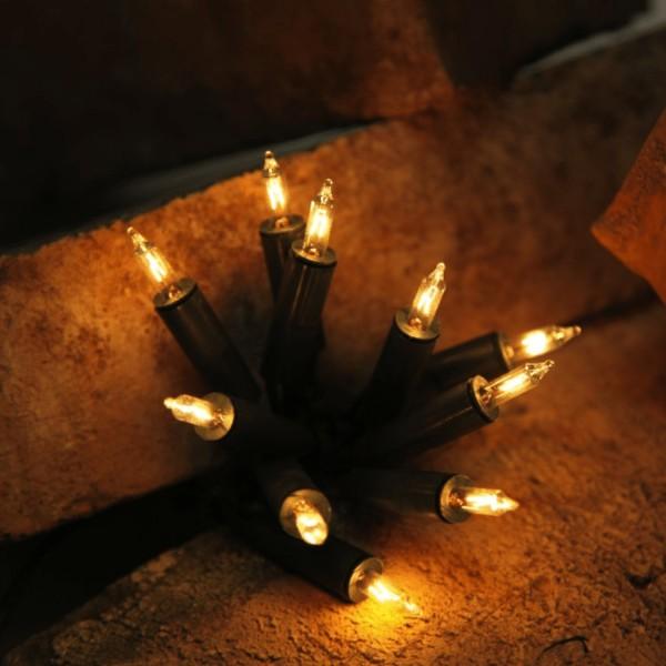 """Pisello Lichterkette """"BASIC"""" - L: 5.10m - 35 Glühlampen - grünes Kabel - indoor - Warmweiß"""
