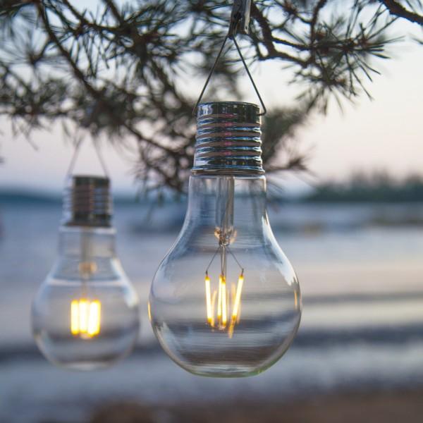 LED Solar XL Glühbirne - warmweißes Filament - H: 18cm - Dämmerungssensor - outdoor - 10 Stück