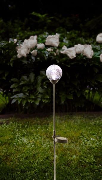 """LED-Solarstab """"Sphere""""- Edelstahl - klares Glas - warmweiße LED - H: 68cm - D: 7,8cm - Dämmerungssensor"""