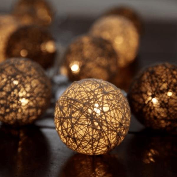LED Ball Lichterkette SISAL - 10 warmweiße LED - 1,35m - inkl. Trafo - brauntöne