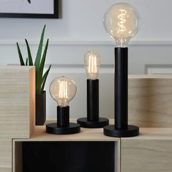 Lampenhalterung | GLANS | E27 | 180cm Kabel | Röhre kurz | stehend | Granit-Schwarz