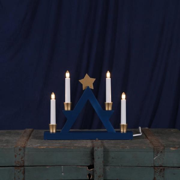 """Fensterleuchter """"Julle"""" mit Stern - 4flammig - warmweiße Glühlampen - H: 26cm - Blau/Gold"""